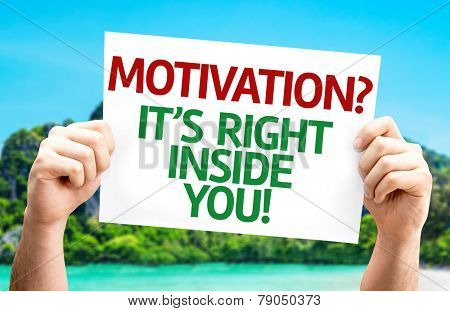 Motivation? Its Right Inside You! card with a beach on background