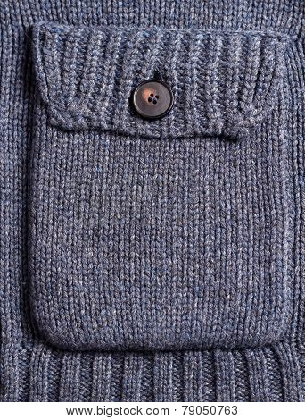 Dark Blue Knitting Woolen Pocket With Button