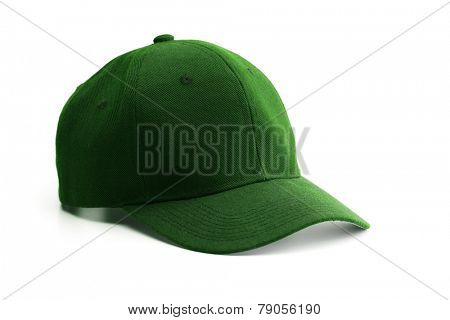 Green cap isolated on white.