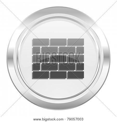 firewall metallic icon brick wall sign