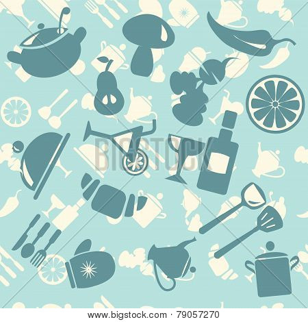Vector  Background  Food Icon Pattern - Illustration