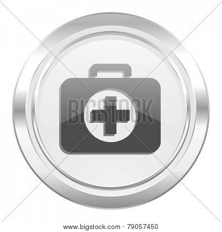 first aid metallic icon hospital metallic icon