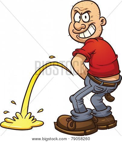 Mischievous bald man peeing, Vector clip art illustration with simple gradients. All in a single layer.