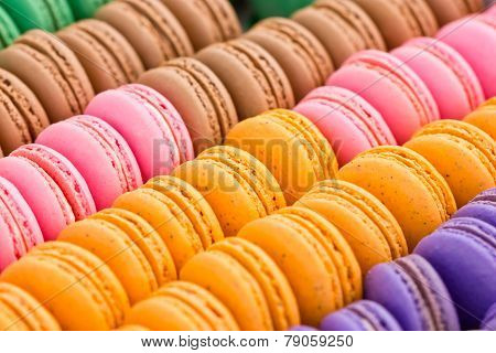 Multicolored Macaroon Cookies.