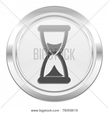 time metallic icon hourglass sign