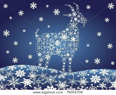 2014 Chinese Goat Snowflakes Illustration