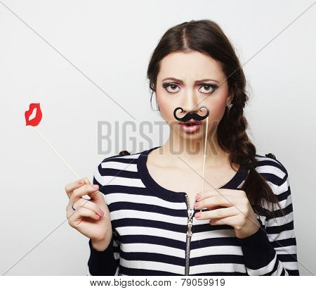 Party image. Playful young woman.