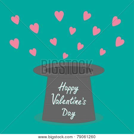 Magic Black Hat With Flying Pink Hearts. Flat Design Style Happy Valentines Day Card