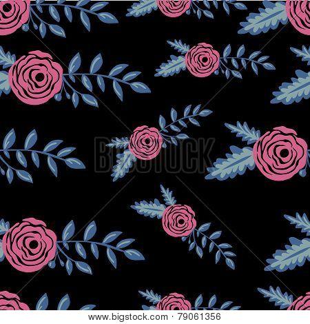 Colorful seamles flower pattern in black backdrop