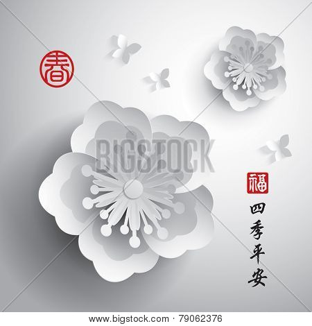 Chinese New Year. Vector Paper Graphic of Plum Blossom. Translation of Stamp: Blesssing, Spring. Translation of Calligraphy: Peaceful seasons.