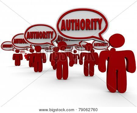 Authority word in speech bubbles above people or workers who are top experts in their professions with great knowledge, skills, expertise, intelligence and experience to complete a job or task