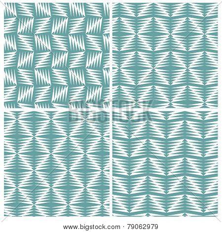 Set of four strange zigzag patterns