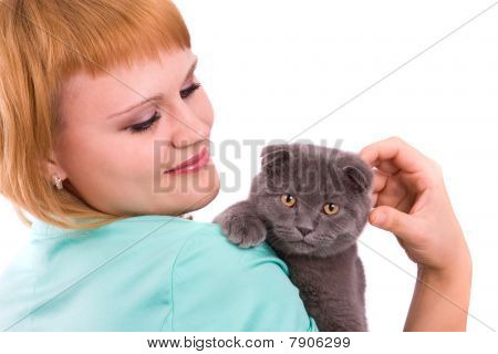 Woman With Scottish Fold Cat