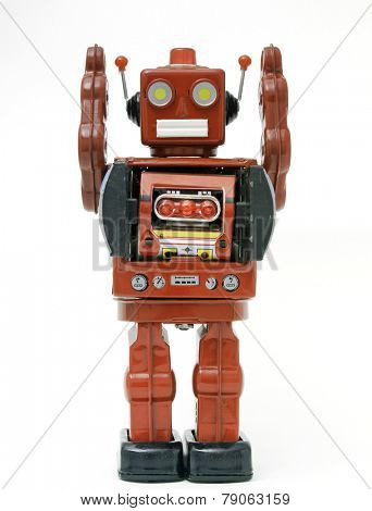 red retro robot toy