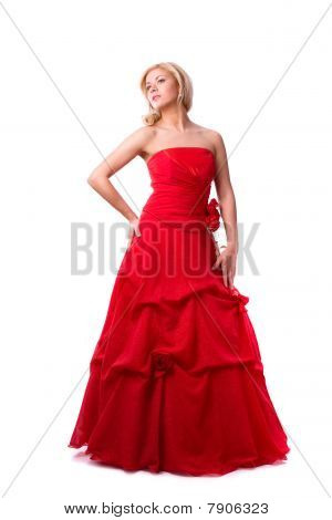 Beautiful Young Woman In Red Long Dress