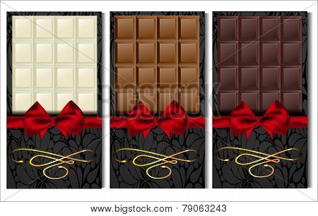Set Of Three Kinds Of Chocolate: Dark, Milk And White, In Elegant Envelopes With Red Satin Bow.