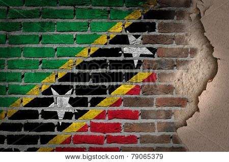 Dark Brick Wall With Plaster - Saint Kitts And Nevis