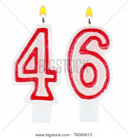 Birthday Candles Number Forty Six Isolated