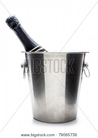New Year champagne bottle in metal cooler shot on white