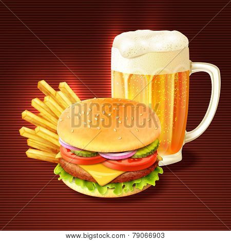 Hamburger And Beer Background