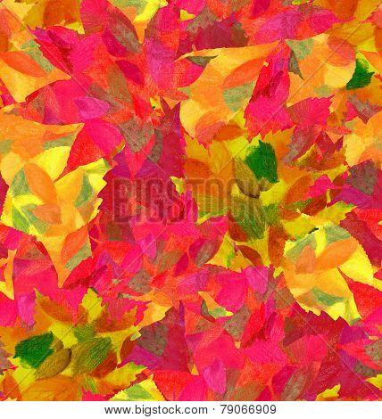 Set autumn pencil leaves