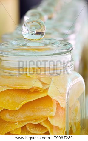 Mango Preserve Fruit In Galss Jar.