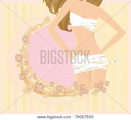 Women Skinny Figure, Abstract Card
