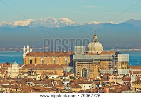 Telephoto aerial view of Venice from San Giorgio Maggiore church