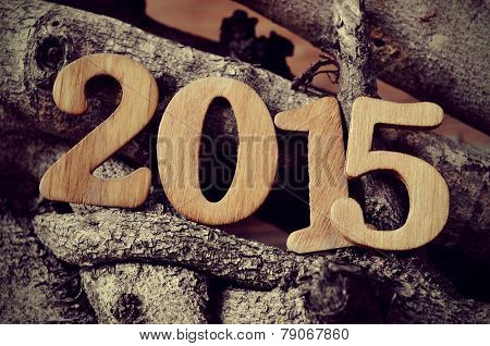 wooden numbers forming the number 2015, as the new year, with a pile of logs in the background