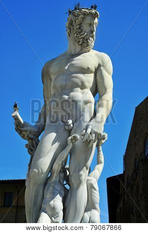 detail of the Fountain of Neptune located in Piazza della Signoria in Florence, Italy