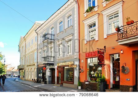 Vilnius City Town Old Street On September 24, 2014