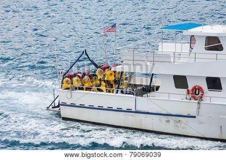 Diving Boat In Sea