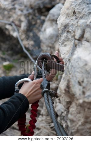 Hands With Two Carabiners
