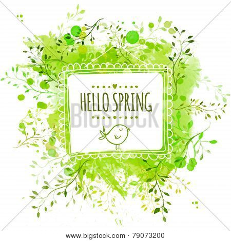 White hand drawn square frame with doodle bird and text hello spring. Green watercolor splash backgr