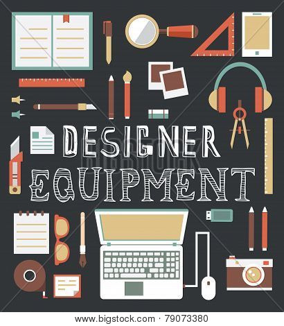 Vector Set Of Equipment For Design. Designer Gadgets For Creativity. Flat Style Design