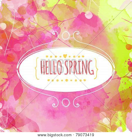 Hand drawn decorative ellipse frame with text hello spring. Fresh pink and green background with pai