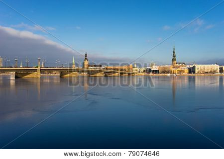 Panorama Of Riga On The Frozen River And Fresh Snow