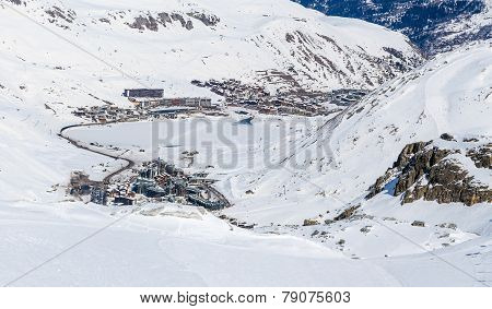 Morning view of Tignes, France.