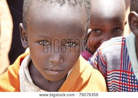 BISIL, KENYA: DECEMBER 7, 2010- Unidentified Maasai children in the village of Bisil in southern Kenya.