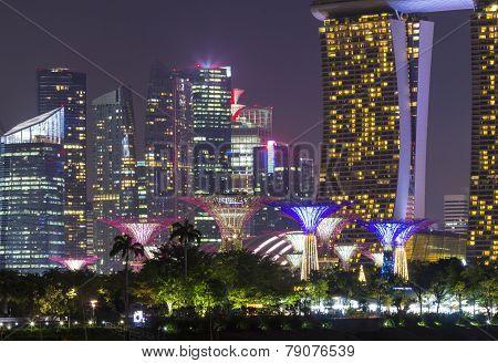 Night Scene In Singapore Landmark At Travel Zone