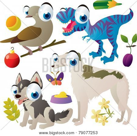 Vector set of isolated cute animals: dove, borzoi dog, husky dog, t-rex