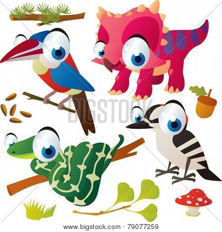 Vector set of isolated cute animals: arasari bird, triceratops, woodpecker, snake