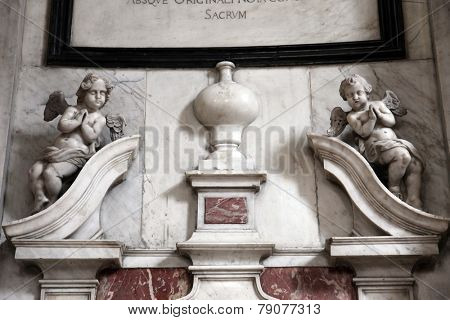 KOTOR, MONTENEGRO - JUNE 10, 2012: Angels, main altar in the Catholic Church of the Saint Clare, on June 10, 2012 in Kotor, Montenegro