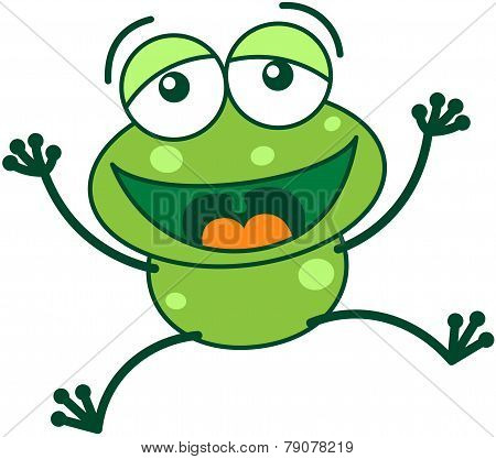 Green frog laughing loudly