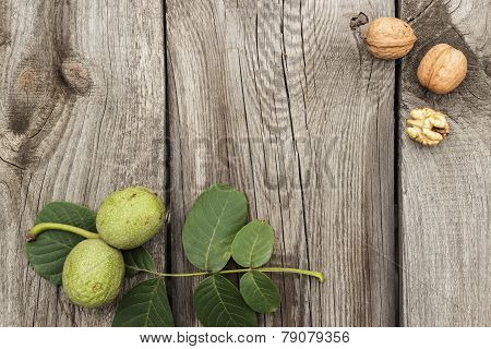 fresh walnuts on the wooden table