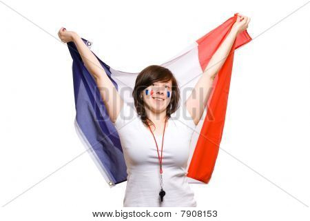 French Team Supporter With Big Flag, Isolated