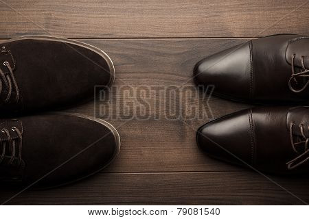 brown shoes on the table