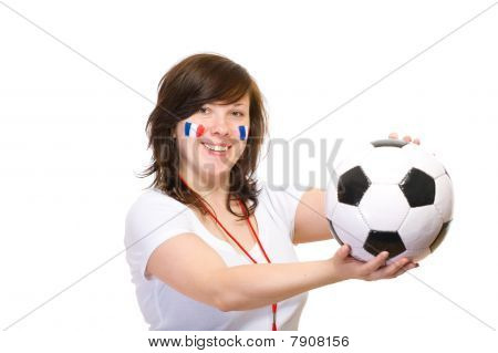 Happy French Football Supporter, Isolated On White