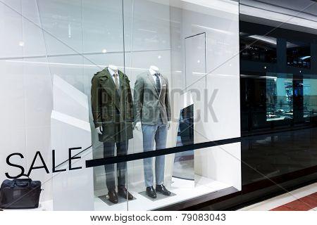 showcase of modern fashion shop