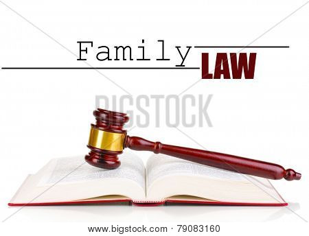 Judge's gavel and book with space for text isolated on white